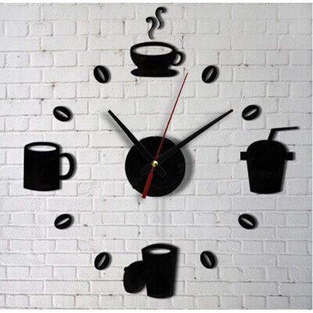 "STENSKA NALEPKA-URA "" COFFEE CLOCK "" ( črna )"