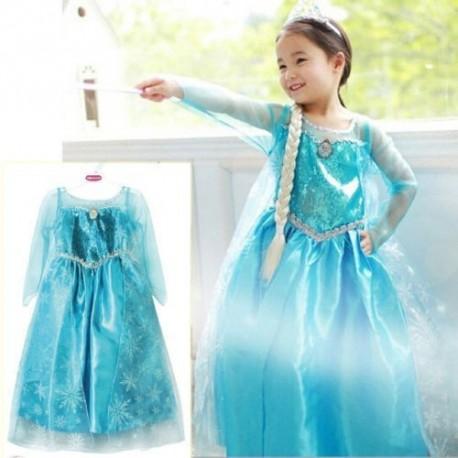 5 DELNI SET ELZA ( kostum,lasulja,čarobna palčka,krona,rokavice )