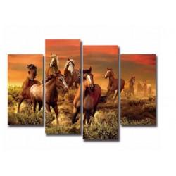 """4 PANELNA SLIKA """" WILD HORSES """" ( platno,brez okvirja )-1,5m"""