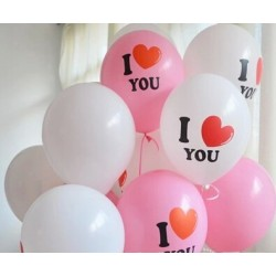 "BALONI ""I LOVE YOU"" 6 X BALON ( 4X BEL+2X ROZA )"